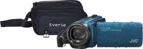 JVC GZ-R495AEU Bleu + Carte mémoire + Sacoche Main Image