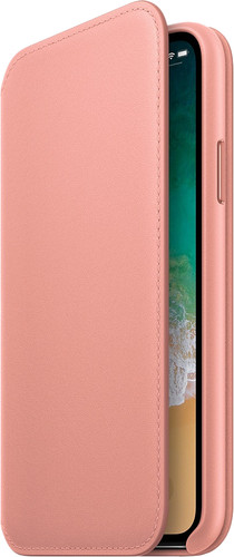 Apple iPhone X Leather Folio Book Case Zachtroze Main Image