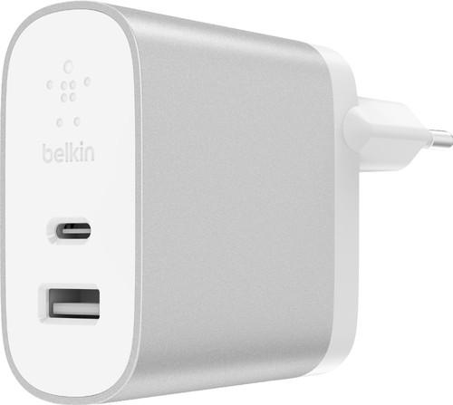 Belkin Dual Chargeur Sans Câble 2 Ports USB 27 W Power Delivery 3.0 Blanc Main Image