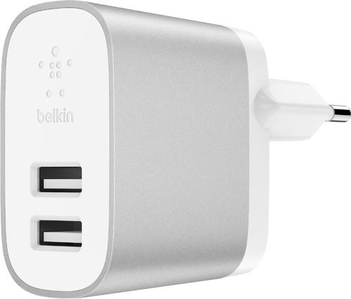 Belkin Chargeur Secteur USB Boost Charge avec 2 ports USB-A 12 W Blanc / Argent Main Image