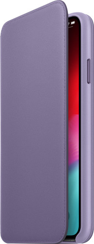 Apple iPhone Xs Max Coque à Rabat Folio en Cuir Lilas Main Image