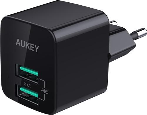 Aukey Chargeur secteur USB-A avec 2 Ports 4,8 A Noir Main Image
