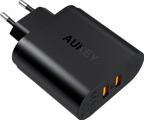Aukey Charger with Micro Usb Cable 2 Usb Ports 18W Quick Charge Black Main Image