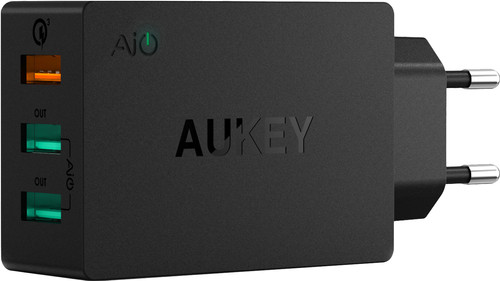 Aukey Charger with Micro Usb Cable 3 Usb Ports 18W Quick Charge Main Image