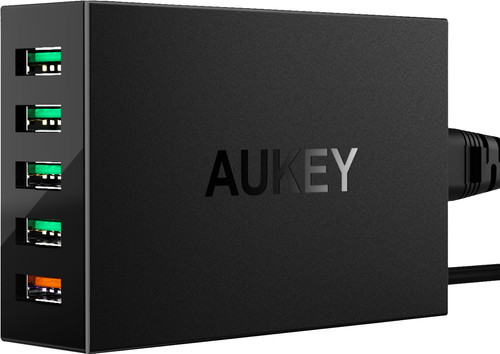 Aukey Charger with Micro Usb Cable 5 Ports 18W Quick Charge 3.0 Black Main Image