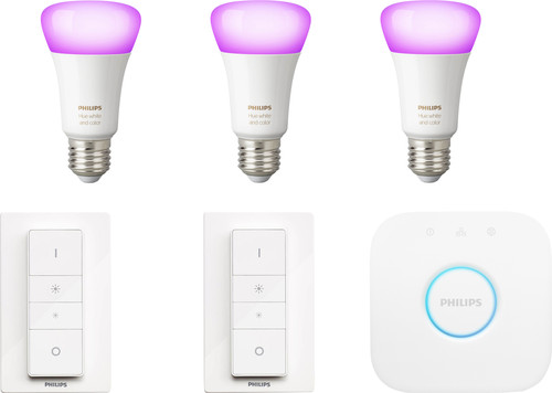 Philips Hue White & Colour E27 Kit de démarrage avec 3 ampoules + 2 variateurs Main Image