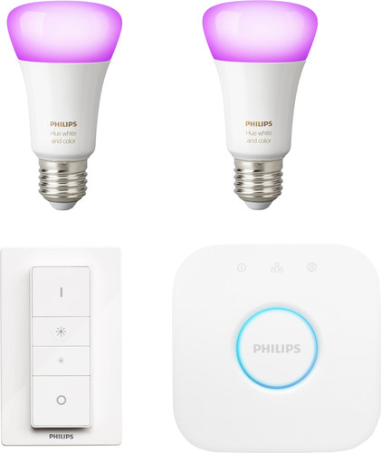 Philips Hue White & Colour Kit de démarrage E27 avec 2 ampoules + 1 variateur Main Image