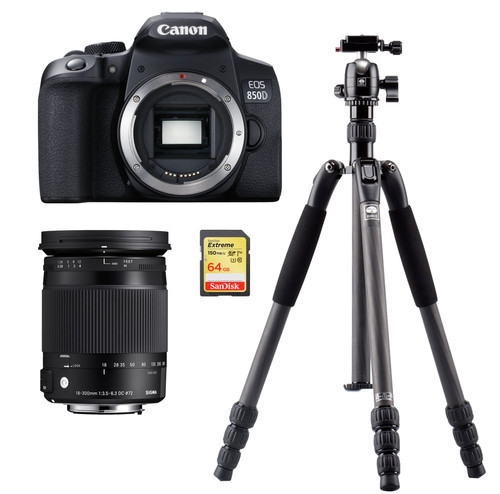 Canon EOS 850D + Sigma 18-300mm DC Macro OS HSM  + Statief + 64 GB geheugenkaart Main Image