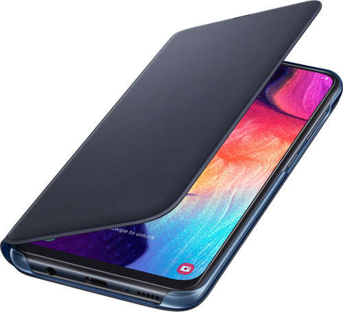 Samsung Galaxy A50 Wallet Book Case Zwart/Blauw Main Image