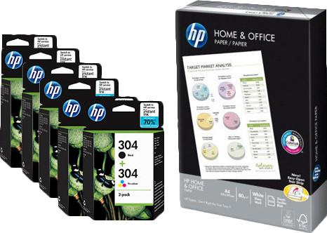 HP 304 Combo Packs + 500 feuilles de papier Main Image