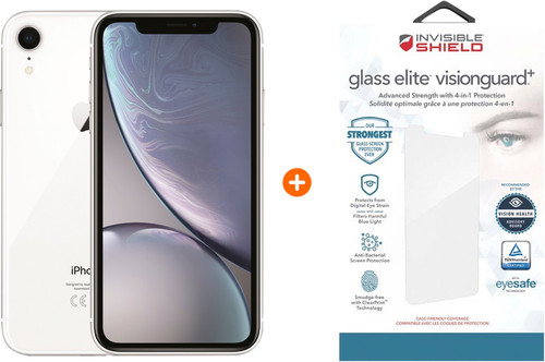 Apple iPhone Xr 64 Go Blanc + InvisibleShield Glass+ VisionGuard protège-écran Main Image