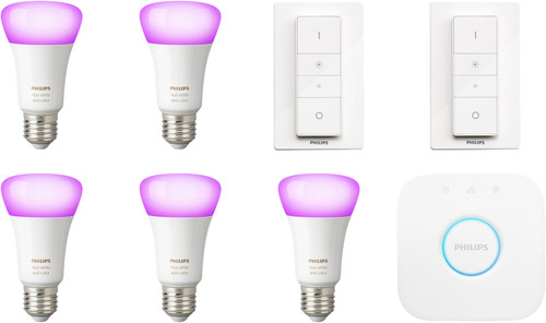 Philips Hue White & Colour Starter 5-Pack E27 + 2 dimmers Main Image
