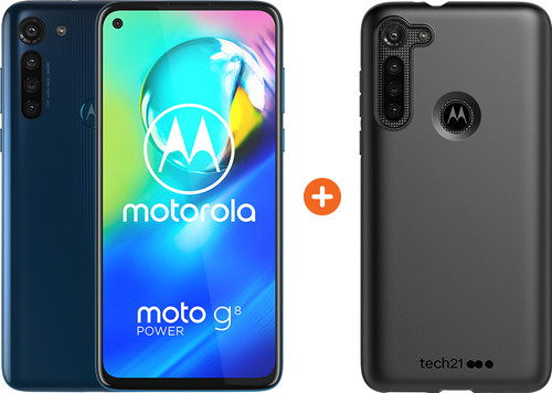 Motorola Moto G8 Power 64 Go Bleu + Tech21 Studio Colour Back Cover Noir Main Image
