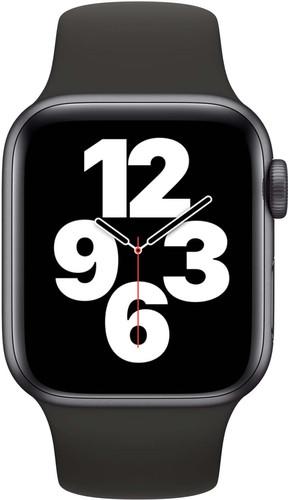 Apple Watch SE 40 mm Aluminium Gris Sidéral Bracelet Sport Noir Main Image