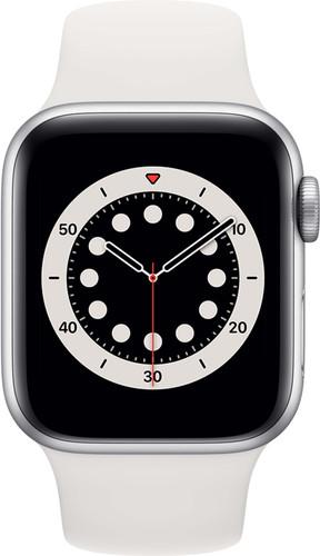 Apple Watch Series 6 40 mm Aluminium Argent Bracelet Sport Blanc Main Image