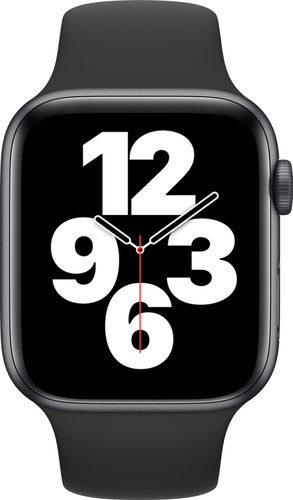 Apple Watch SE 44 mm Aluminium Gris Sidéral Bracelet Sport Noir Main Image