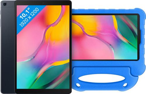 Samsung Galaxy Tab A 10.1 (2019) 32 Go Wi-Fi Noir + Étui pour Enfant Bleu Main Image