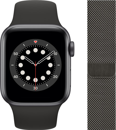 Apple Watch Series 6 40mm Space Gray Aluminium Zwarte Sportband + Milanees Grafiet Main Image