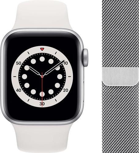 Apple Watch Series 6 40mm Zilver Aluminium Witte Sportband + Polsband Milanees Zilver Main Image
