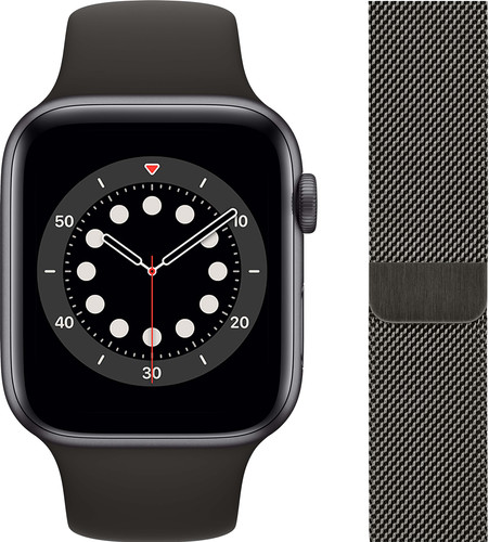 Apple Watch Series 6 44mm Space Gray Aluminium Zwarte Sportband + Milanees Grafiet Main Image