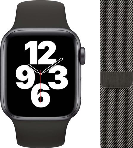 Apple Watch SE 40mm Space Gray Aluminium Zwarte Sportband + Polsband Milanees Grafiet Main Image