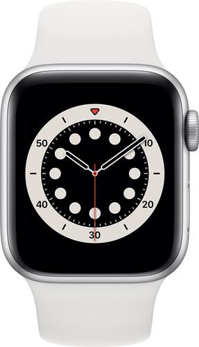 Apple Watch Series 6 4G 40mm Zilver Aluminium Witte Sportband Main Image