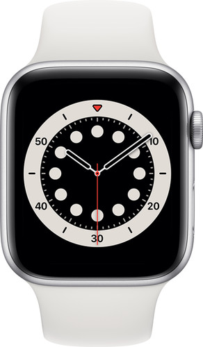 Apple Watch Series 6 4G 44mm Zilver Aluminium Witte Sportband Main Image