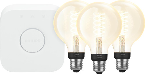 Philips Hue Filamentlamp White Globe E27 Bluetooth Starter 3-pack Main Image