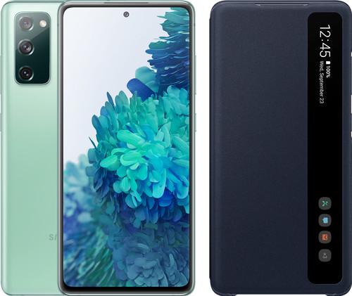 Samsung Galaxy S20 FE 128GB Groen 4G + Clear View Book Case Blauw Main Image