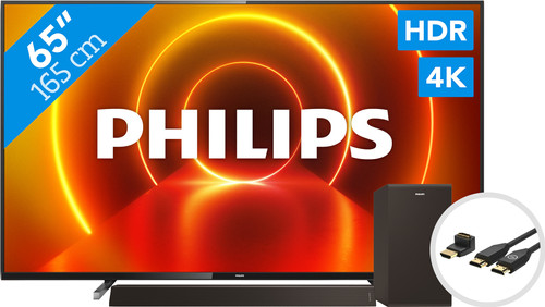 Philips 65PUS7805 - Ambilight + Soundbar + HDMI kabel Main Image