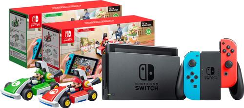 Mario Kart Live pack - Nintendo Switch (2019 Upgrade) Red/Blue + Mario and Luigi Set Main Image
