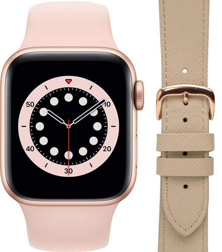 Apple Watch Series 6 40mm Roségoud Roze Bandje + DBramante1928 Leren Bandje Crème/Roségoud Main Image