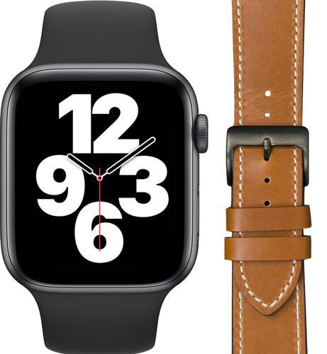 Apple Watch SE 44mm Space Gray Zwart Bandje + DBramante1928 Leren Bandje Bruin/Space Gray Main Image