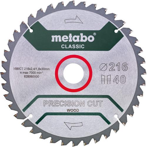 Metabo Precision Cut Wood Zaagblad voor Hout 216x30X1,8mm 40T Main Image