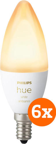 Philips Hue White Ambiance E14 Bluetooth 6-Pack Main Image