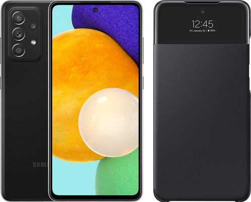 Samsung Galaxy A52 128GB Zwart 5G + Samsung Smart S View Wallet Cover Zwart Main Image