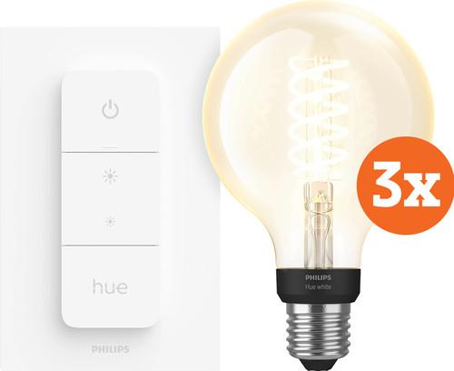 Philips Hue Filamentlamp White Globe E27 Bluetooth 3-Pack + Dimmer Main Image