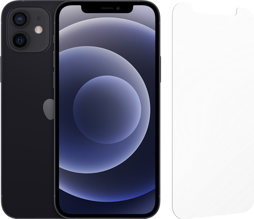 Apple iPhone 12 128GB Zwart + InvisibleShield Glass Elite Screenprotector Main Image