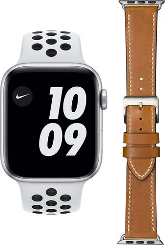 Apple Watch Nike Series 6 44mm Zilver Wit Bandje + DBramante1928 Leren Bandje Bruin/Zilver Main Image