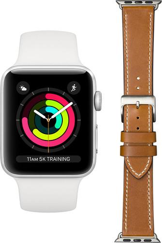 Apple Watch Series 3 42mm Zilver Wit Bandje + DBramante1928 Leren Bandje Bruin/Zilver Main Image