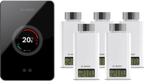 Bosch EasyControl CT200 zwart + 5x Bosch EasyControl Smart Radiator Thermostat RT10-RF Main Image