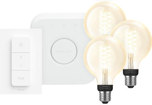 Philips Hue Decoratieve Globe Warmwit Licht E27 Bluetooth 3-Pack Startpakket met bridge Main Image