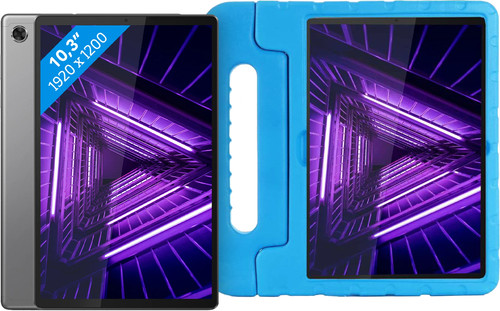 Lenovo Tab M10 Plus (2de generatie) 64 GB Wifi Grijs + Just in Case Kinderhoes Blauw Main Image