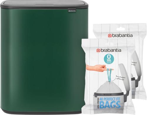 Brabantia Bo Touch Bin 2 x 30 Liter Groen + Vuilniszakken (80 stuks) Main Image