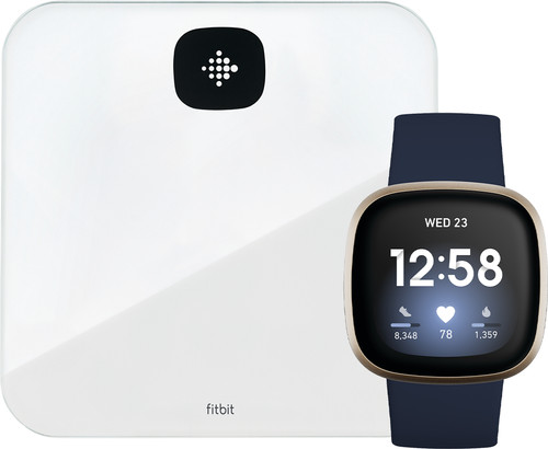 Fitbit Versa 3 Midnight/Soft Gold + Fitbit Aria Air White Main Image