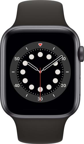 Apple Watch Series 6 44 mm Aluminium Gris Sidéral Bracelet Sport Noir Main Image