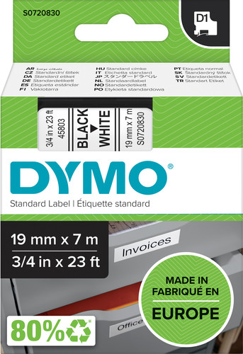 DYMO Authentieke D1 Labels Zwart-Wit (19 mm x 7 m) Main Image