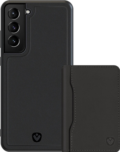 Valenta Snap Samsung Galaxy S21 Back Cover Leer Zwart + Kaarthouder Main Image