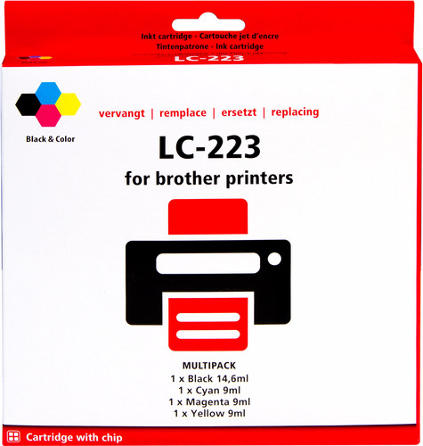 Pixeljet LC-223 4-Color Pack for Brother printers Main Image