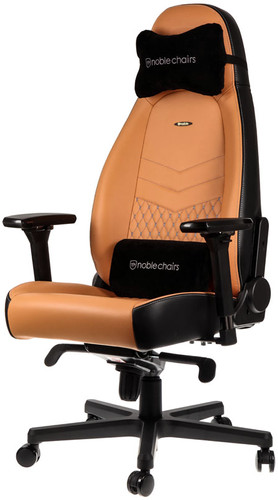 Noblechairs ICON Genuine Leather Gaming Chair Black/Beige Main Image
